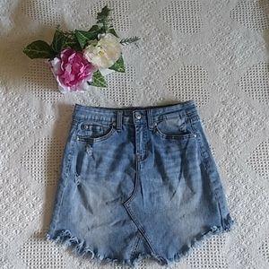 Fringed blue jean skirt